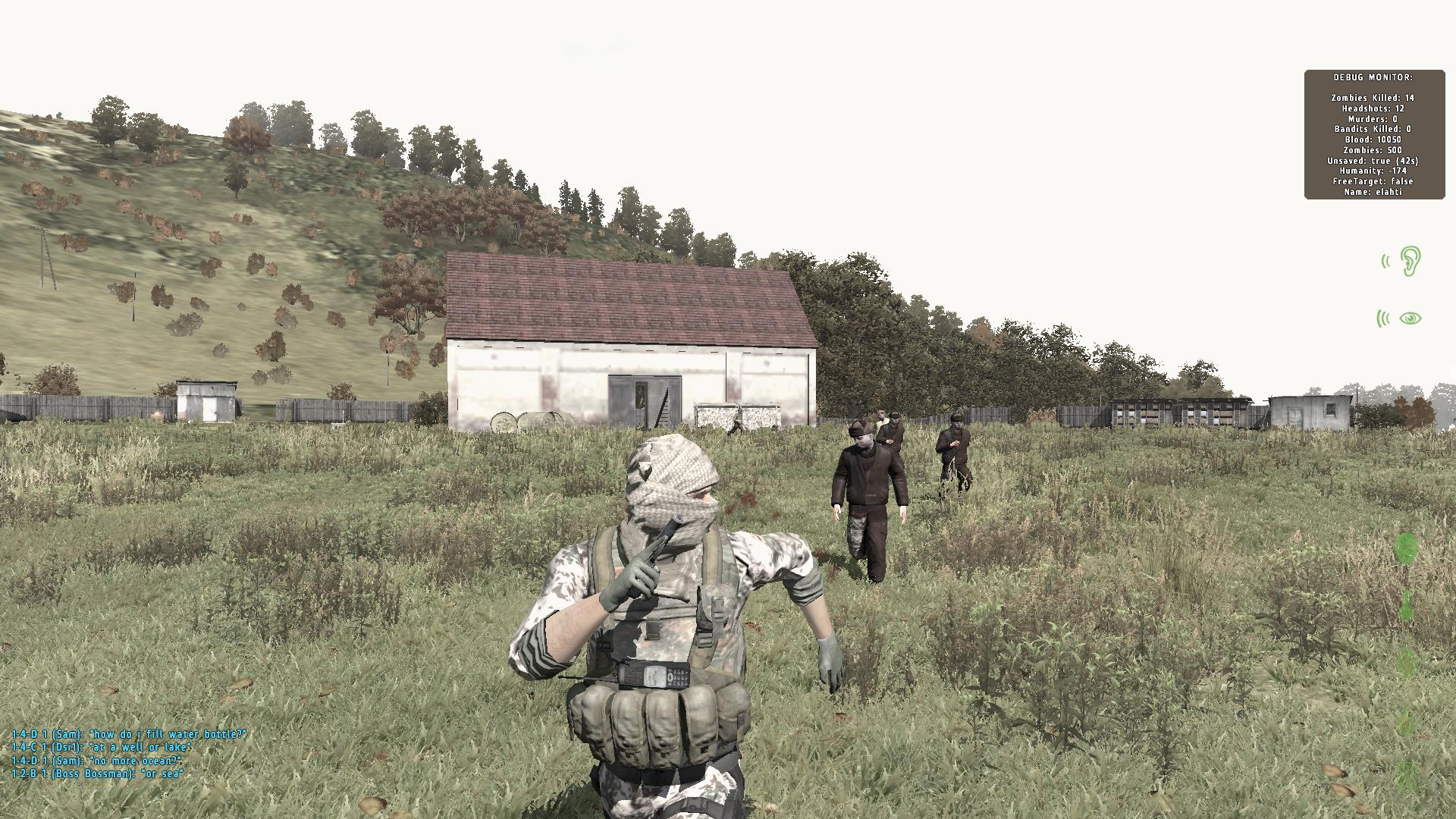Player in DayZ running from Zombies.