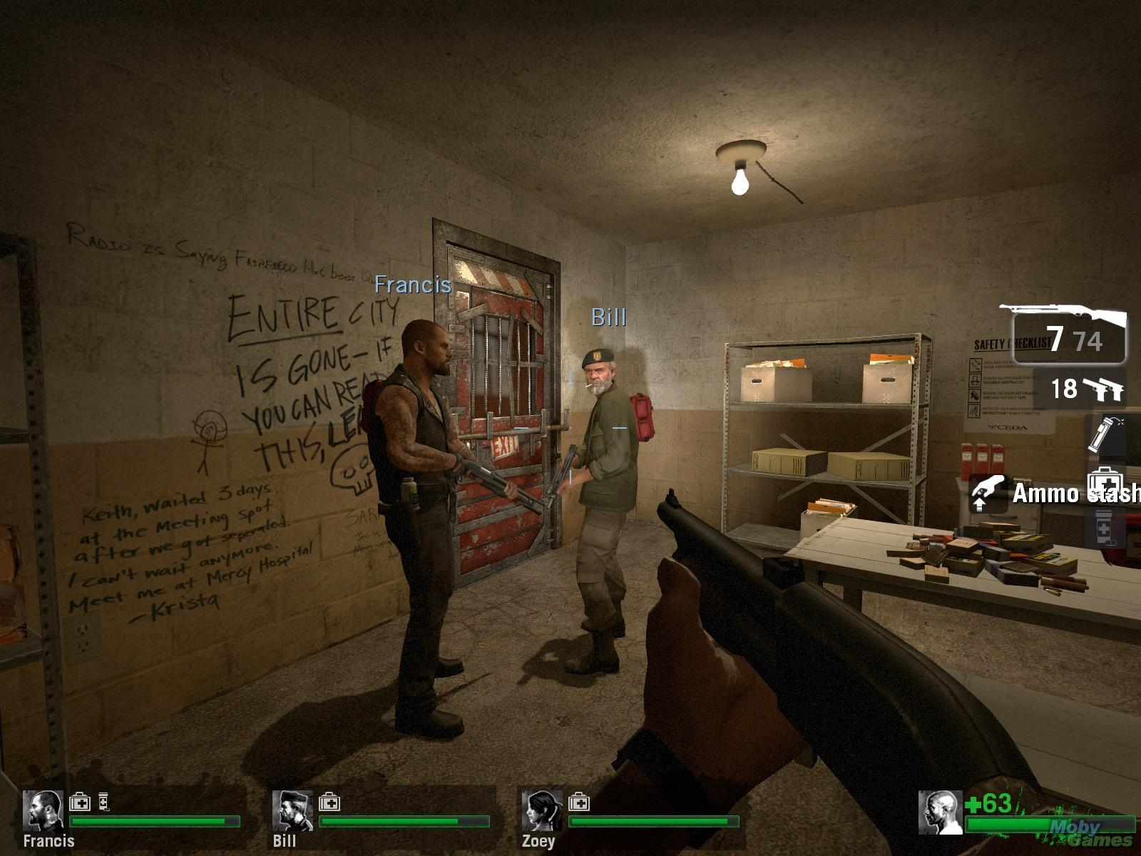 A safe room in Left 4 Dead