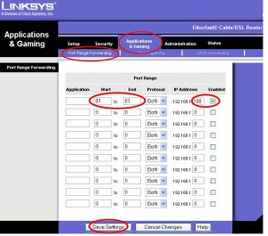 "Linksys port-forwarding. In the case of CS: GO server port 27015 set the start and end values both to 27015, leave ""Protocol"" as both, and set the IP Address as your computer's IP. Image courtesy of z2software.com."